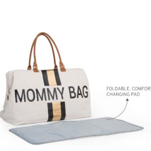 Torba Mommy Bag Big Canvas Off White stripes black/gold + punjenje