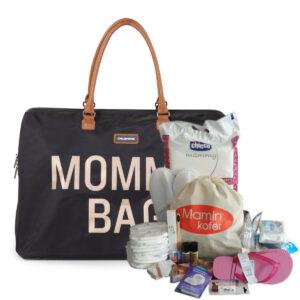 Torba Mommy Bag Big Black Gold + SOS bundle